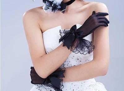 caed91f218622 2018 Yarn Bow Meters White Red Black Gloves Bride Short Design Full Usuginu  Gloves Wedding Dress Marriage Gloves G011