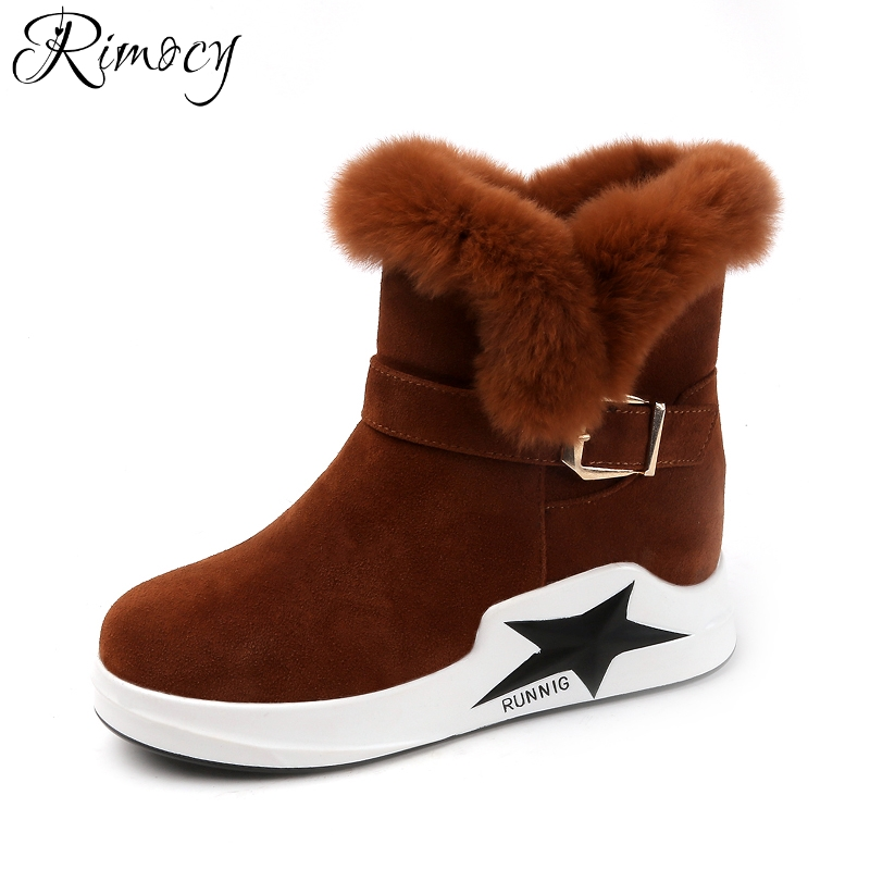 Rimocy thick fur suede platform snow boots women comfortable flat heels plush warm winter shoes woman fashion short booties 2017 2017 new women snow boots winter fox fur boots suede leisure shoes thick warm short boots plush girls fashion boots black brown