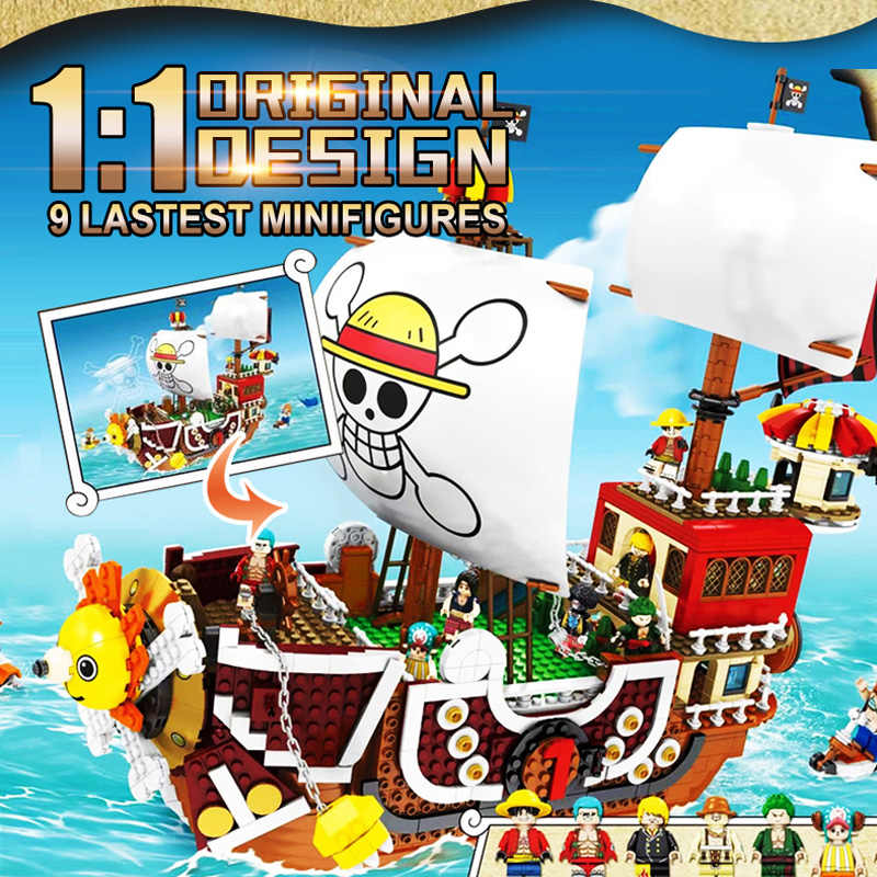 3D2Y One Pieces Thousand Sunny Navio Pirata Luffy piratas playmobil Figuras Building Blocks Brinquedos presentes Idéia Techinc SY 6298 6299