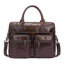 Genuine Leather Men's Messenger Bag Shoulder Handbag Bag Business Briefcase for Man Large Cross Body Bag Travel Casual Tote Male