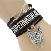 Supernatural Unisex Wrap Pentagram Wings Charm Black Wax Suede Leather Bracelet
