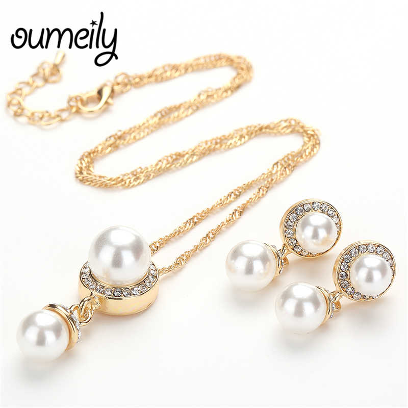 OUMEILY 2018 Fashion Women Jewelry Sets Wedding Necklace Set Dubai Gold Silver Color Simulated Pearls Crystal Bridal Jewelry Set