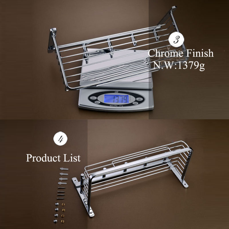 Wall Mounted Chrome Finish Brass Bathroom Shower Basket Shelf With ...