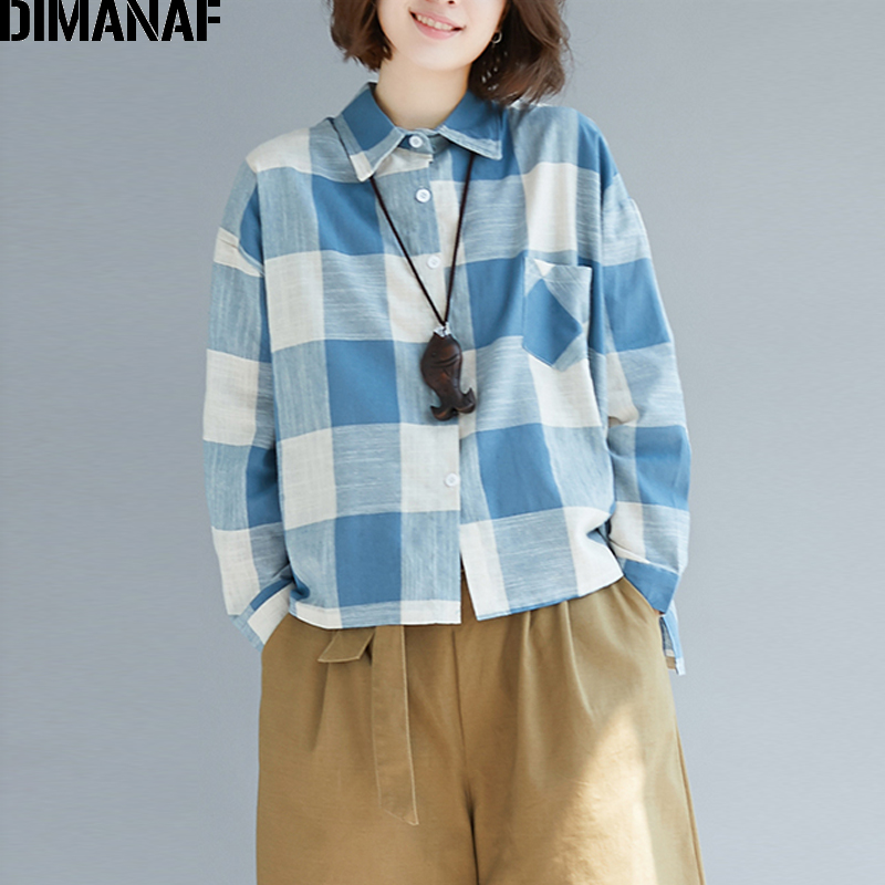 DIMANAF Women's Clothing Female   Blouse     Shirts   Plus Size Ladies Tops Linen Vintage Long Sleeve Plaid Blue Loose Tunic 2018 Autumn