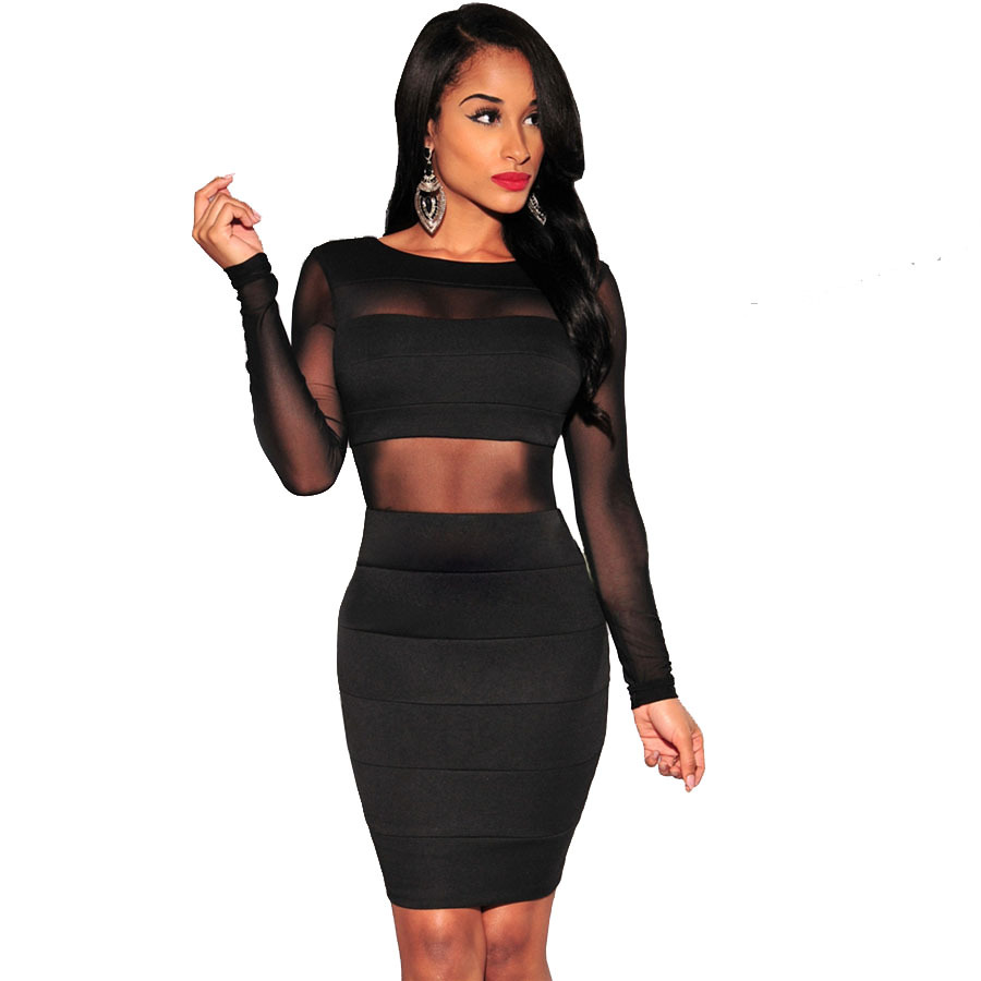xs xxl sexy bandage dress new winter black white dress long sleeve mesh patchwork hollow
