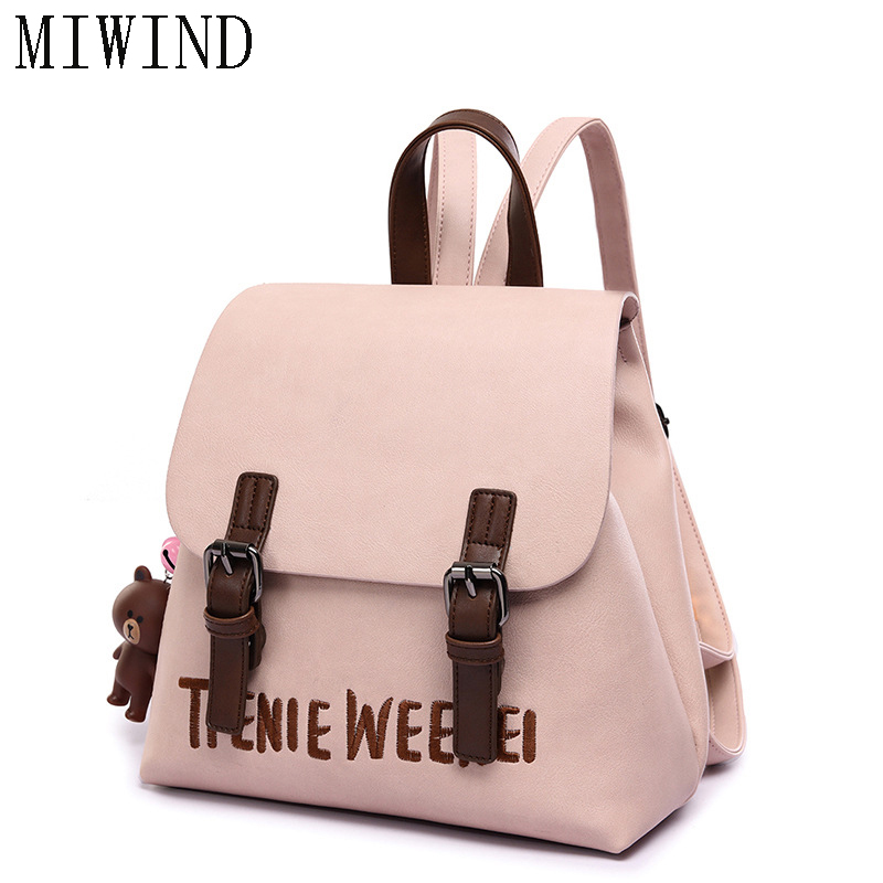 MIWIND  Fashion Women Backpack College Style PU Leather Women  School Backpack Vintage Women Shoulder Bag Girls Schoolbag TBB661 promotion dual use women shoulder bag backpack japan korean style girls pu leather college students school bags mochila