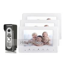 FREE SHIPPING BRAND 7″ Color Screen Video Door phone Doorbell Intercom + 3 Monitor + 1 Waterproof Door Intercom Camera WHOLESALE