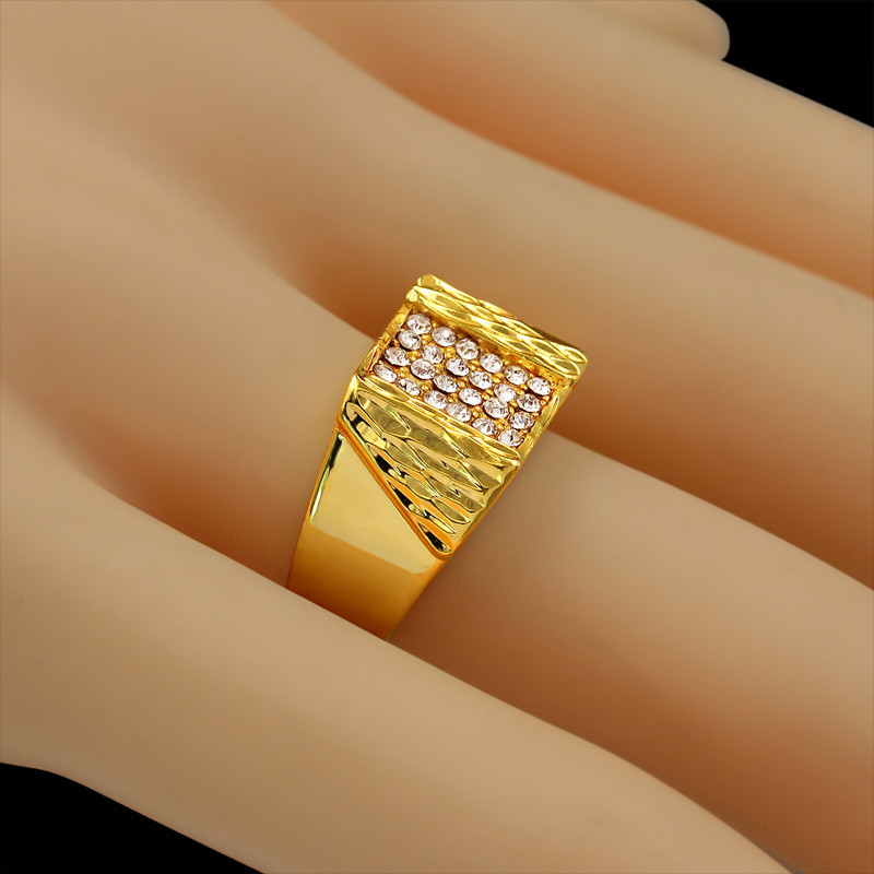 Highend Brand Luxury 18K Real Gold Plated Full Cubic Zirconia Ring