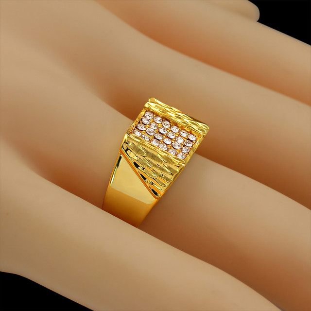 High-end Brand Luxury 18K Real Gold Plated Full Cubic Zirconia Ring New Trendy Vintage Big Wedding Rings For Men Women Wholesale
