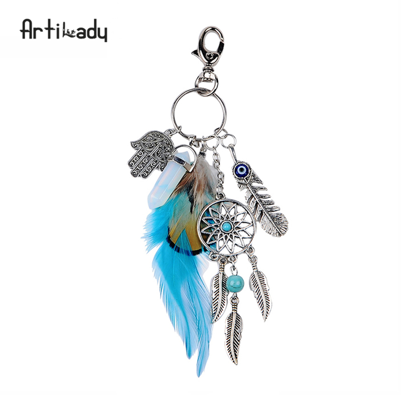 Artilady natural opal stone dreamcatcher keyring bag charm fashion silver boho jewelry feather keychain for women 2017