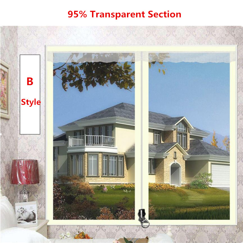 120*150 Cm Thick Warm Zipper Curtain Winter Sealed Window Winter Windproof Bedroom Windshield Cold Insulation Film Translucent