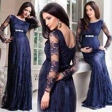 Elegante Lange Scoop Eine Linie Marineblau Lange Spitze Abendkleid kleider Für Schwangere Frauen Arabische Abendkleid Langarm Vestido 2017