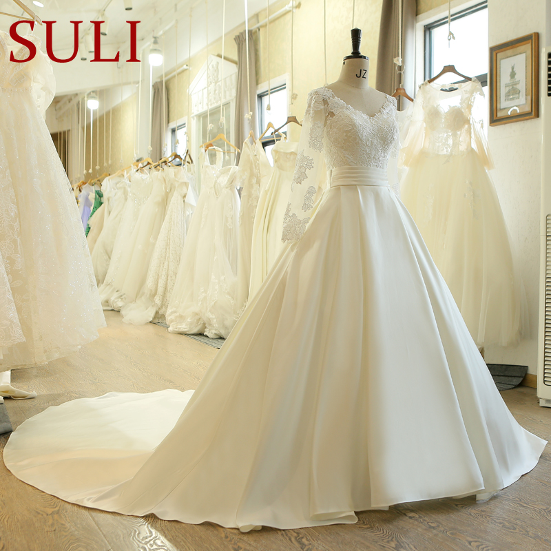 SL-523 Hot Sale A-line Sashes Wedding Dresses 2019 New Long Sleeve Muslim Lace Appliques Wedding Gowns Bridal Dress(China)