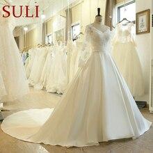 SL 523 מכירה לוהטת אונליין Sashes חתונת שמלות 2019 חדש ארוך שרוול מוסלמי תחרה אפליקציות חתונת שמלות כלה שמלה