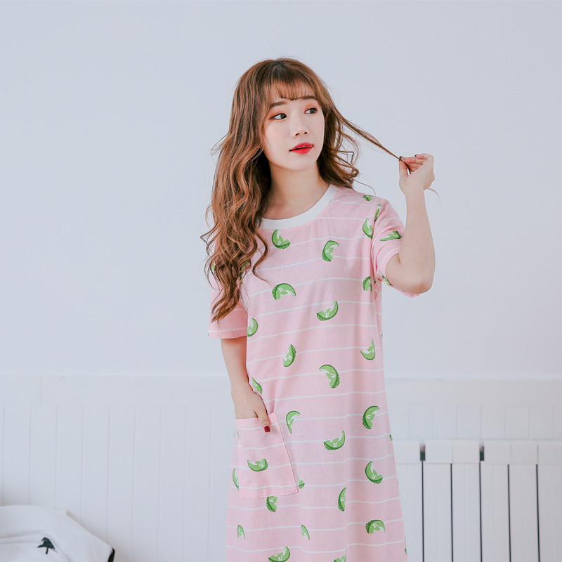 2019 women   nightgown   cotton   sleepshirt   striped sleep clothing short sleeved sleepwear female pyjamas girls nightdress summer