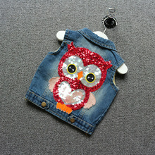Spring Autumn Children Girls Fashion Clothing kids Owl Cowboy Vest Version Casual Vest Jacket cotton 100%
