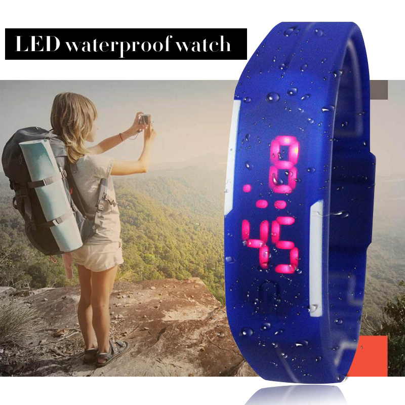 LED Touch Watch New Design Women Children Fashion Digital Watch Silicone Jelly stylish Rectangle Wristwatch Hour stylish golden hollow rounded rectangle hasp bracelet for women