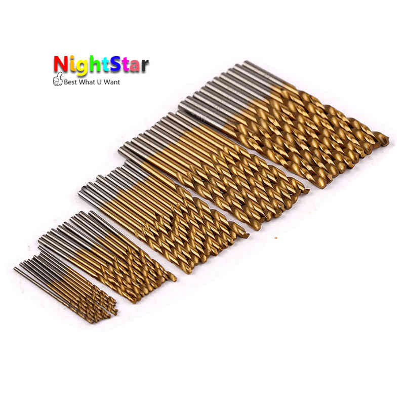 50Pcs Twist Drill Bit Set Saw Set HSS High Steel Titanium Coated Drill Woodworking Wood Tool 1/1.5/2/2.5/3mm 15 pieces titanium coated hss twist drill bit set with 1 4 hex shank for wood metal power tool 3 0 5 0mm black hemp screw drill