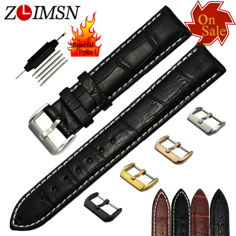 ZLIMSN Genuine Leather Watch Bands 12 14 16 19 21 23mm Black Brown Bracelets Silver Stainless Steel Buckle On Sale Special Price suunto core brushed steel brown leather