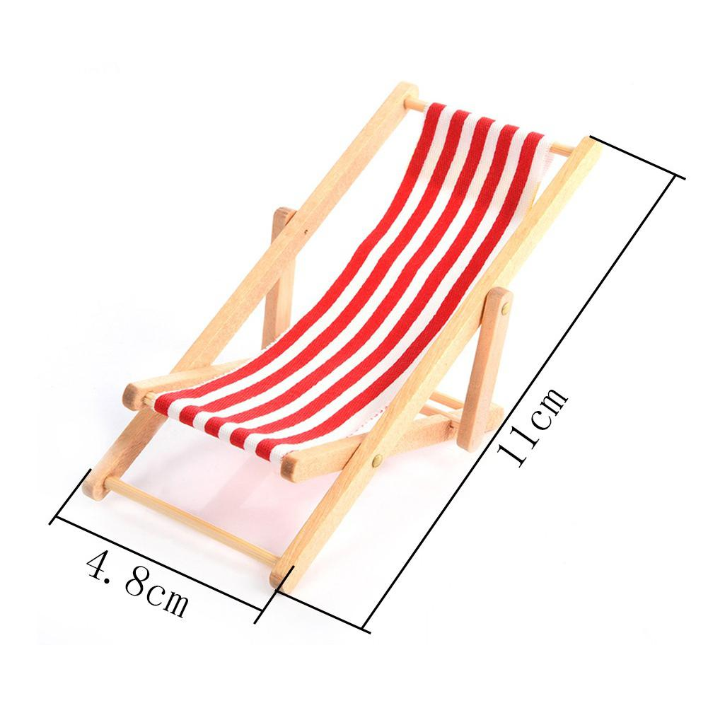 RCtown Simulate Recliner Beach Sunbathing Chair Kids Dollhouse Miniature Toy Gift Decoration zk30