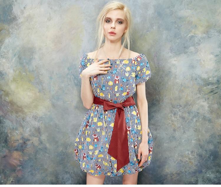 2017 été femmes robe élégant imprimer manches bouffantes Slash cou ceinture robes courtes Vestidos femmes vêtements