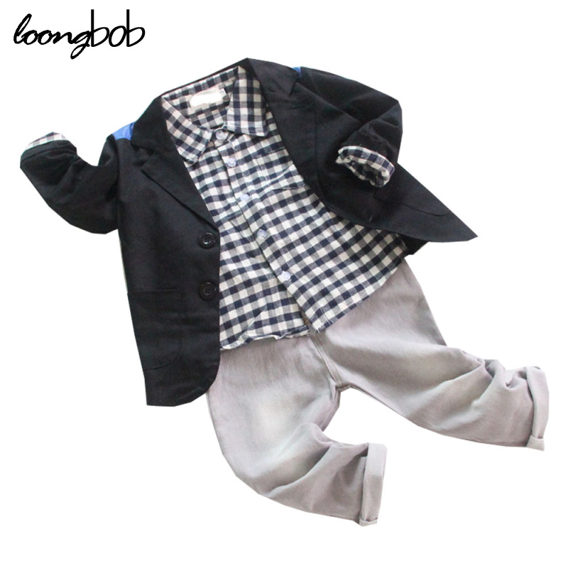 Baby Boys Gentleman Sets Clothes 3 Pcs Black Dress Jacket + Plaid T-shirt + Gray Jeans Infant Kids Party Wedding Formal Wearing стоимость