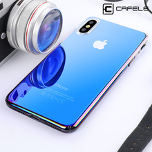 hot deal buy cafele case for iphone xr xs max cases luxury aurora gradient color transparent case for iphone xr xs light cover hard pc cases