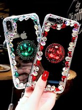 XINGDUO Luxury bling Jewelled Transparent soft back shell for Samsung s7 s8 s9 s10 plus note8 9 J7 2017 Kickstand Diamond