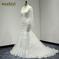 wuzhiyi wedding gown Long mermaid wedding dress Cap Sleeve Lace Bridal Dresses 2018 Sccop vestido de noiva lace Customise dress