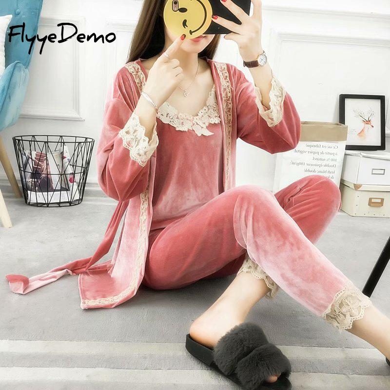 5XL Brand Autumn Female Three Pieces   Pajamas     Sets   Velvet Lace Patchwork Floral Velvet High Quality Nighties Bathrobe Plus Size