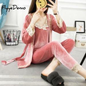 Image 1 - 5XL Marka Sonbahar Kadın Üç Adet Pijama Setleri Kadife Dantel Patchwork Çiçek Kadife Yüksek Kaliteli Gecelikler Bornoz Artı Boyutu