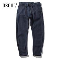 OSCN7 Marinha Lavagem Denim Calça Jeans de Lavagem Clássico Cor Sólida Slim Fit Calças de Brim De Alta Qualidade Retro Streetwear Jeans Skinny homens