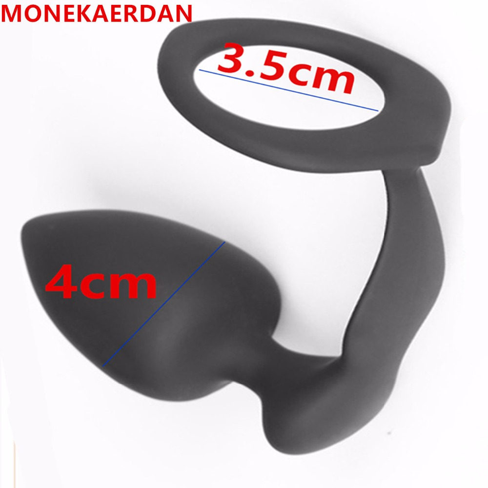 Silicone Cock Rings With Anal Plug In Adult Games For Men , Male Penis Rings With Prostate Massager Anus Pleasure Bead Butt Plug