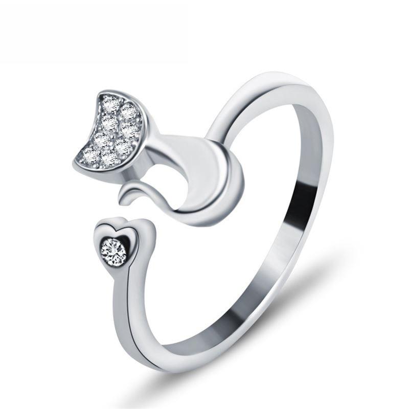 LNRRABC Female Midi Finger Cat Ear Ring Rhinestones Heart Open Ring For Women Girl Child Gifts Bijoux Accessories Jewelry ...