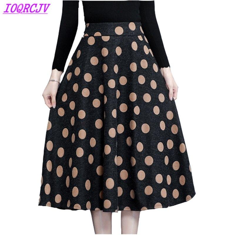 Spring Autumn Women Woolen Skirts Fashion High waist Printed Skirt Plus size Medium length Slim Woolen cloth Skirts IOQRCJV H154