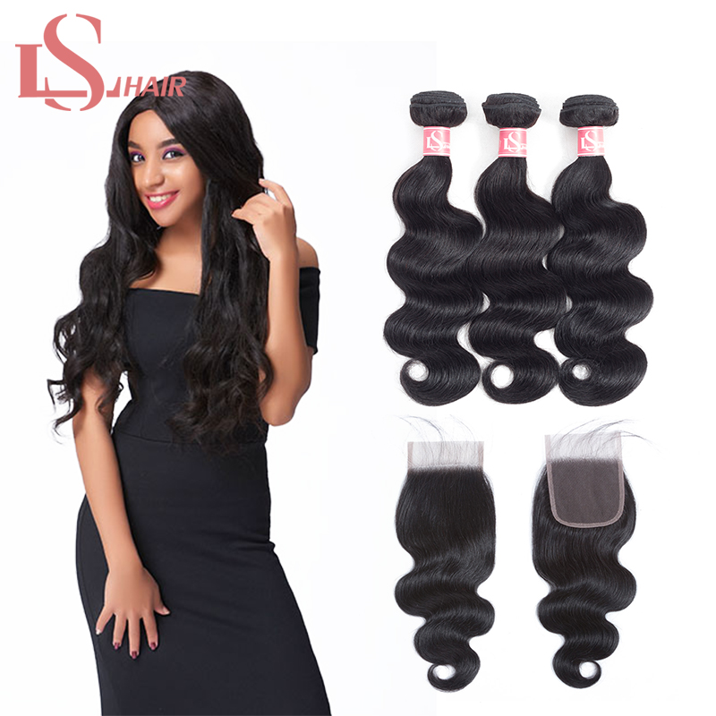 Mornice brasilianske Body Wave 3 Bundles Hair Weave Med Lace Closure - Menneskehår (sort)