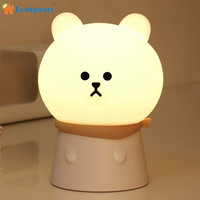 LumiParty Lovely Bear Silicone Night Lamp Sensitive Tap Control LED USB Charged Nightlight For Nursery Baby
