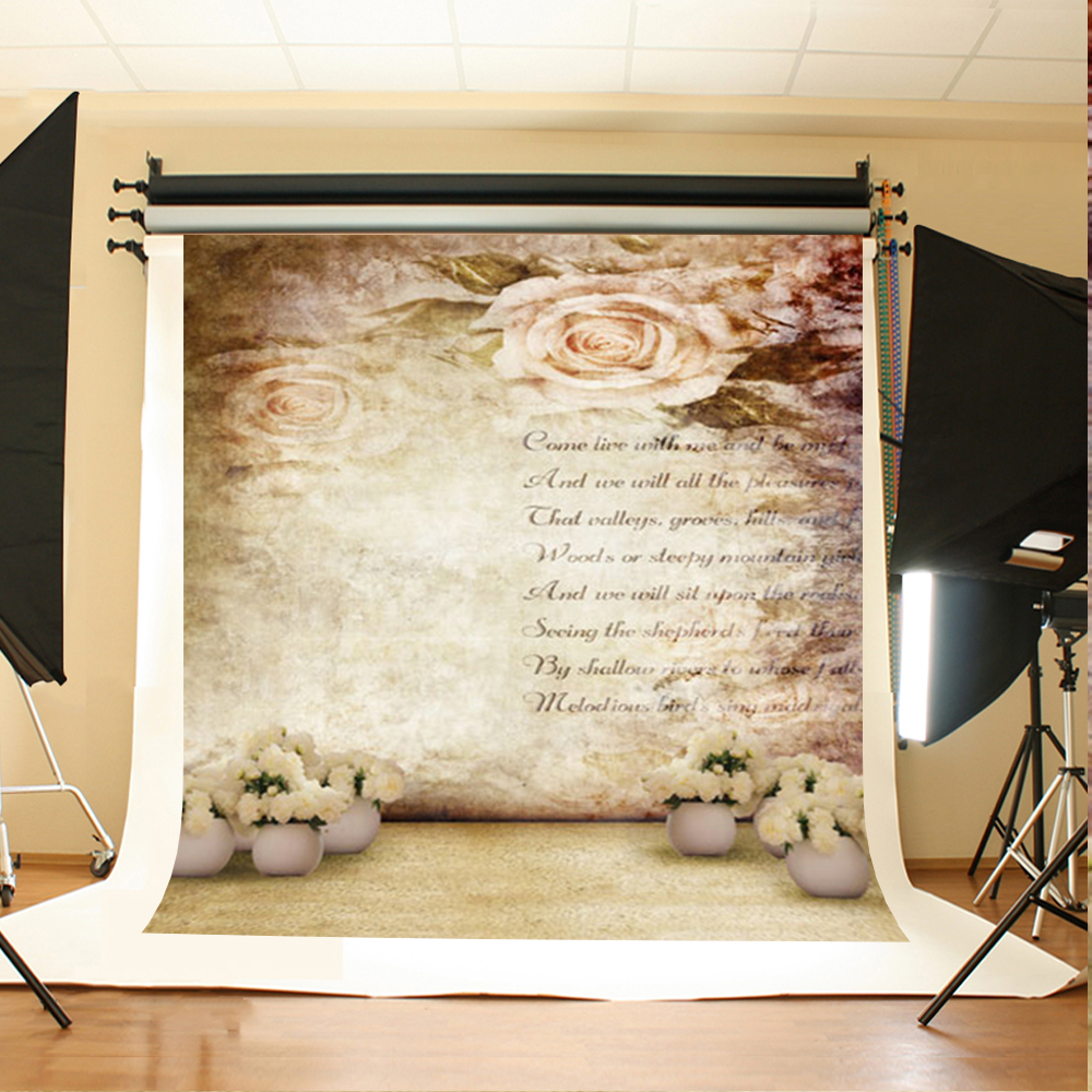 Love Letter Printed on Retro Wood Wall Photography Background Big Rose Flower Backdrops for Photo Studio Wedding Props Custom