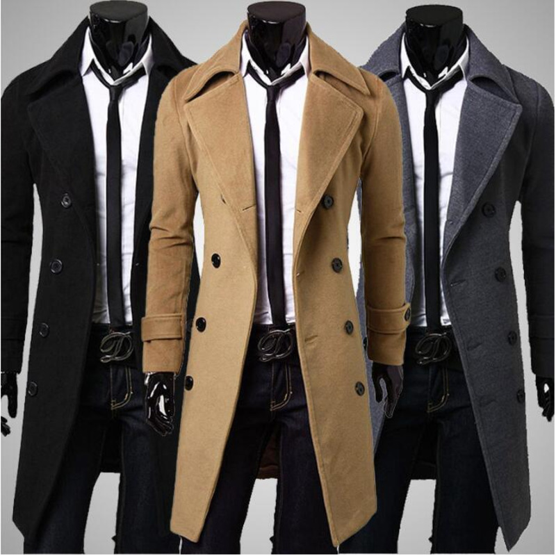 Jacket Trench-Coat Long-Sleeve Male Mens Double-Breasted Slim Winter Fashion 4XL 9036