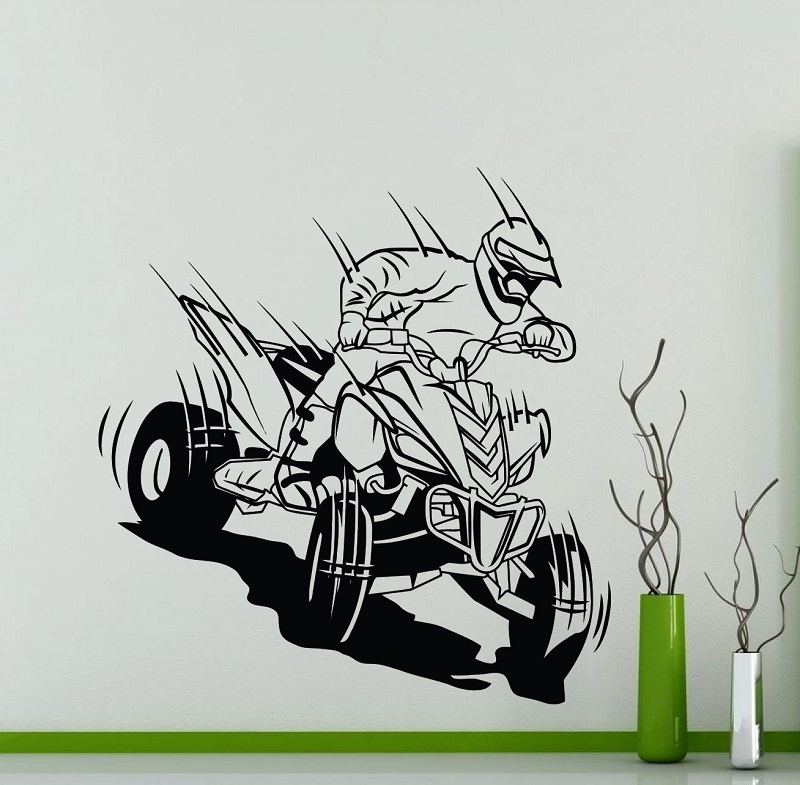 Four wheeled off road motorcycle vinyl wall stickers racing extreme sports enthusiasts off road racing club home wall decal 2CE-in Wall Stickers from Home & Garden