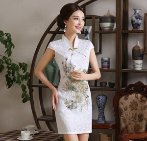 Image 1 - New Women Chinese Embroidery Designs Cheongsam Dress Oriental Style Gold Thread Phenix Qipao Short Low Slits 4XL Plus Size Xxxxl