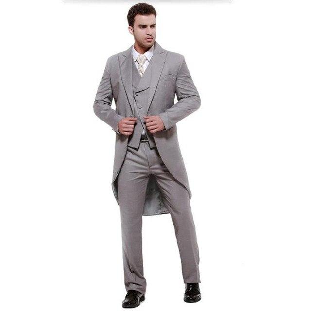 44f80b09a3a03 Trajes para hombre gris de cola bifurcada alta calidad hombres traje  elegante moda novio groomsman (