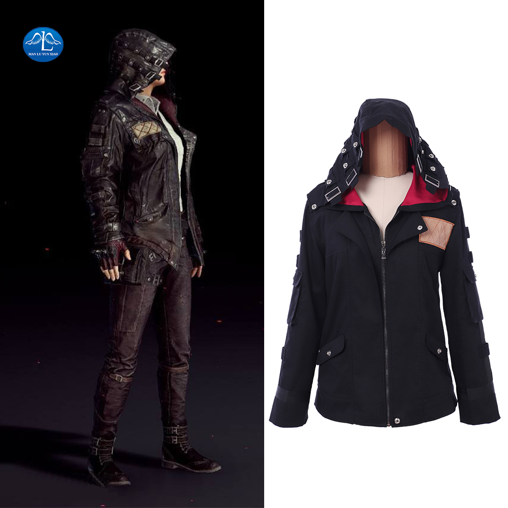 Game PUBG Playerunknown's Battlegrounds Cosplay Costume Black Hoody Jacket With Hat Winter Thicken PUBG Jacket Halloween Outfit