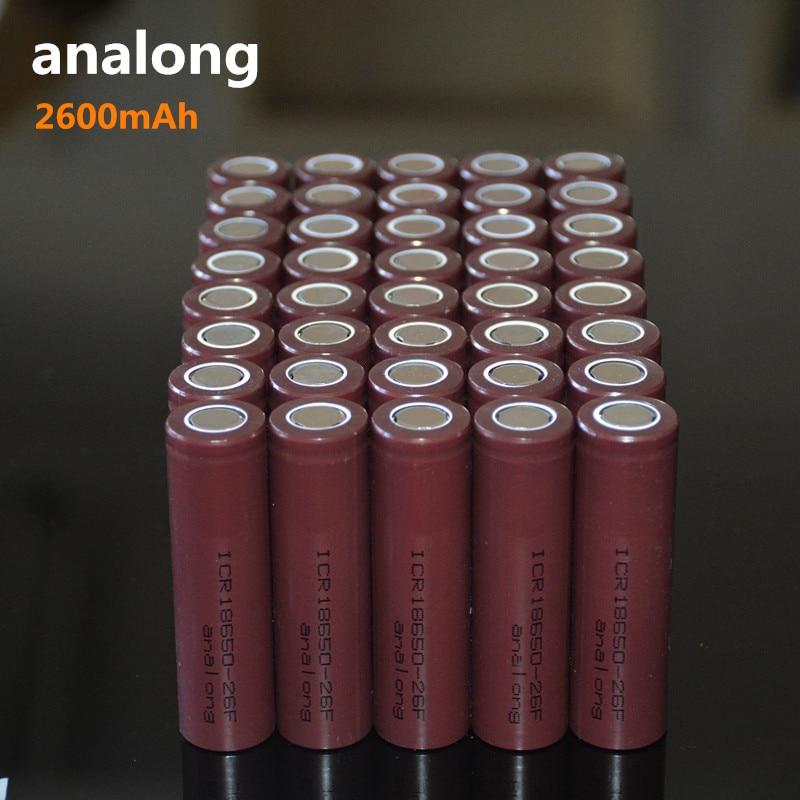100% New Original ICR18650 26F 3.7 v 2600 mah 18650 Lithium Rechargeable Battery analong Flashlight batteries