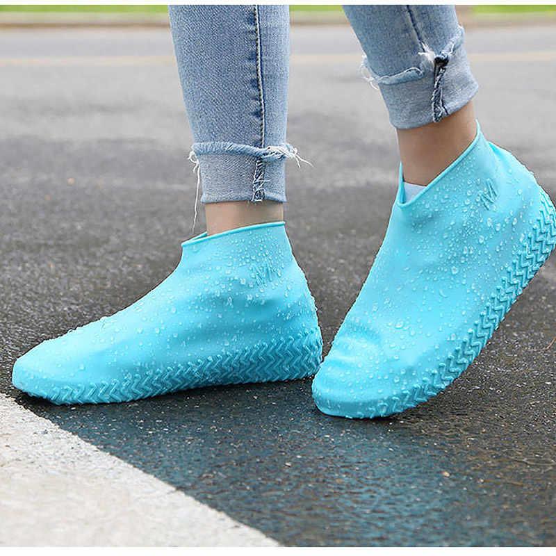 Imperméable à l'eau pluie chaussure couverture réutilisable latex naturel élastique force couvre chaussures mode style 2019