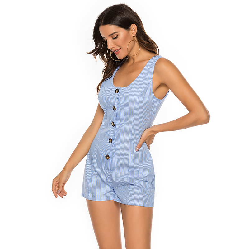 New 2019 Fashion Women's Striped Jumpsuit Sexy Boho Playsuit Rompers Summer Sleeveless Beach Casual Women Overalls 2XL(China)