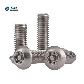 50 Uds. ISO14583 M2 M2.5 M3 M4 304 tornillos de seguridad de la máquina de cabeza redonda de seis lóbulos