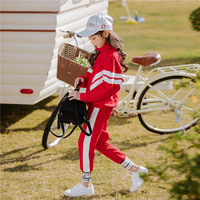 2019 Korean Style Girls Tracksuits Spring Autumn Kids Sports Suits Red Coats+pants 2pcs School Uniform Children Clothes Sets
