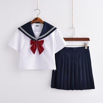 Hot Sale Japanese Schoolgirl Uniforms Navy Sailor School Uniform JK Uniforms Student Cosplay Costume Suit S-XXL japanese anime love live sunshine cosplay costume takami chika girls sailor uniforms love live aqours school uniforms