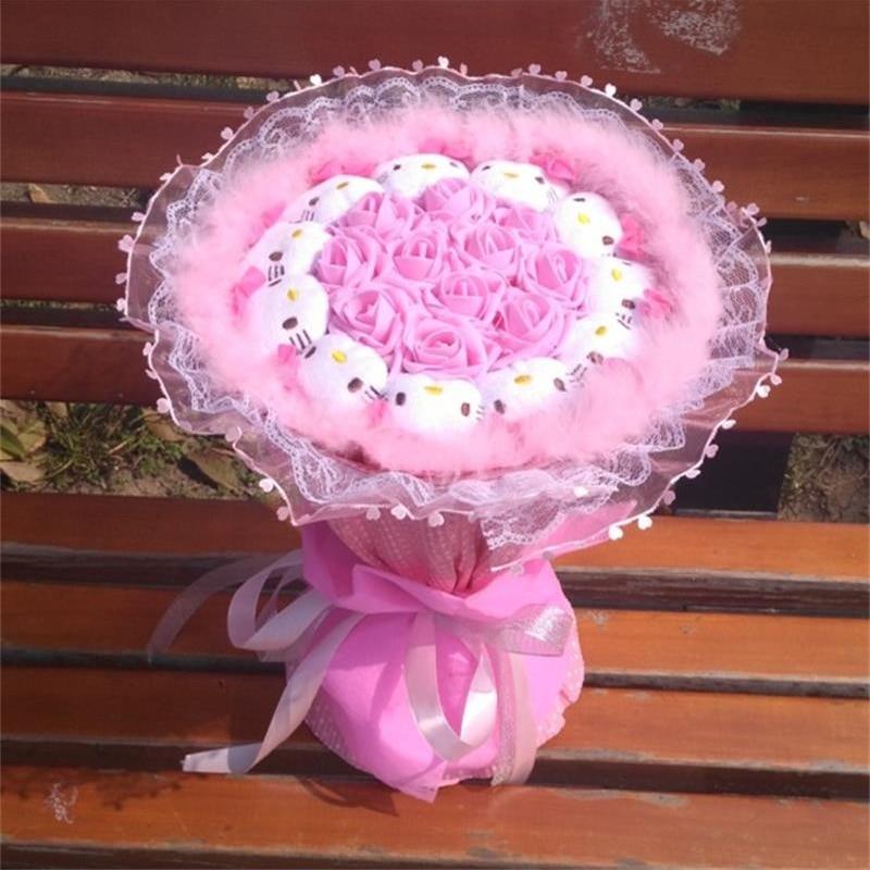 New hot sale handmade Wedding Festival Gift Cute hellokitty Stuffed Animal Plush cats Toy Cartoon Flower Bouquet Valentine's Day